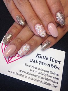 3D Flower Accent Nail Nails by Katie Hart Eugene, Or 541-730-2662www.styleseat.com/KatieHart www.facebook.com/nailsbyKatieHart