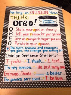 Anchor Chart: OREO Opinion Writing (don't forget to include sentence starters)...