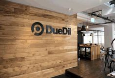DueDil Floating Wood Sign in Midnight