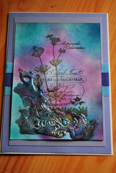 stamped card, inked using adirondack inks then embossed with frantage embossing powders