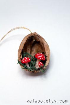 Christmas Ornaments Mushroom walnut shell Tree by Velwoo on Etsy