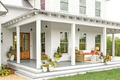 A beautiful porch always holds eyes on people. And the farmhouse style porch seems to be very enjoyable right now. It looks so cozy and nice. So, if you are thinking what your porch could look like this year, here… Continue Reading → Farmhouse Front Porches, Rustic Farmhouse, Farmhouse Style, Farmhouse Garden, Farmhouse Remodel, Southern Front Porches, Farmhouse Addition, Farmhouse Door, Porch Addition