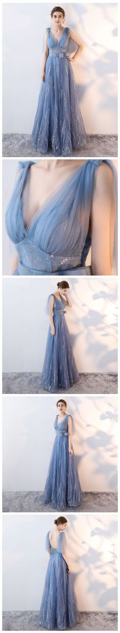 CHIC A-LINE V-NECK TULLE BLUE MODEST LONG PROM DRESS EVENING DRESS