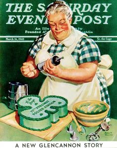 """""""St. Paddy Cake for Policeman"""" March 16, 1940 Artist: Norman Rockwell"""