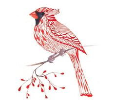 I like the idea, maybe put a dogwood flower on the branch and have the cardinal be more of an outline.