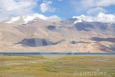 Deeply blue Tso Moriri lake in the deserted region of Ladakh in Indian Himalayas surrounded by high mountains
