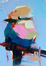 Blue Bellied Roller no. 2 original bird oil painting Angela Moulton ACEO