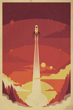 Atomic Sky Art Print is part of Space illustration - Atomic Sky is a retro space inspired poster created by Danny Haas It is printed on high quality art paper using archival inks