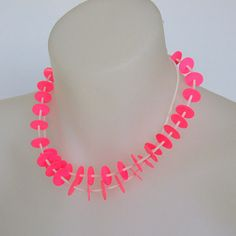 neon pink necklace, spring fashion, edgy jewelry, eco friendly, statement necklace, single strand