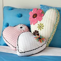 Flowered heart pillows with a vintage feel.