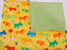 Baby Bedding MultiColor Dogs Blanket by ThreeFatBirdies on Etsy, $40.00