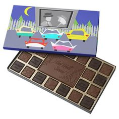 Small Town Drive-In Movie Box of Chocolates--#drive-in #1950s #driveinmovie #chocolate #getwell #birthday #Zazzle #classiccars #movies