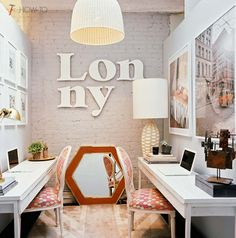 Love the brick wall and big old letters #studio #interior_design #interiors #office #decoration small space. 2 desks