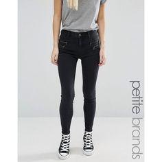 New Look Petite Zip Skinny Jean ($37) ❤ liked on Polyvore featuring jeans, black, petite, cut skinny jeans, mid rise petite jeans, mid rise skinny jeans, skinny leg jeans and skinny jeans