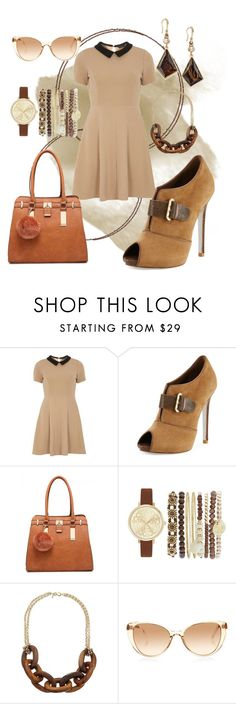"""""""Earth tone collar dress"""" by craftyduoramz ❤ liked on Polyvore featuring mel, René Caovilla, Jessica Carlyle, Kenneth Jay Lane, Linda Farrow and INC International Concepts"""