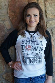 Small Town Friday Nights baseball tee