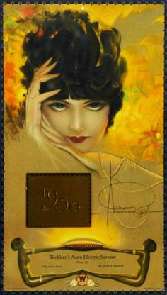 vintage ad for Webber's Auto Electric Service with art work by Rolf Armstrong, 1930.