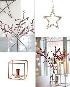 Inspiratie nodig voor de kerst? Deze mooie Scandinavische kersversiering in koper is trendy op dit moment.