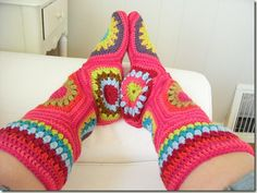 Caravan Hexagon Boots with a link to pattern they were modified from & instructions to changes @ Afshan Shahid