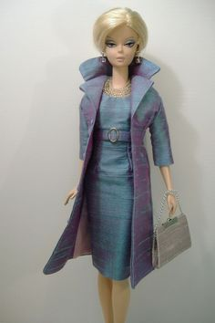 New Handmade Dress and Coat Set for Silkstone Fashion Model Barbie ( slim body )