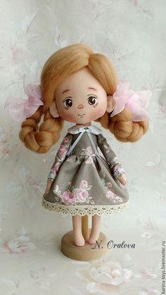 Купить Куколка - коричневый, кукла, ручная работа, авторская ручная работа, авторская игрушка, текстиль: