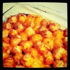 *Tator Tot Cassarole: Brown beef and season with salt and pepper. Add chopped onion; cook all together. In casserole dish (a 9x9 worked best for me), mix beef and 1 cream of chicken or celerysoup together. Top with tater tots. Bake uncovered for 35 minutes. Remove, top with cheese, cook 5 more minutes.