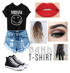 """""""Band t shirt 🙂🙂🙂"""" by i-love-niall-horan-4457 ❤ liked on Polyvore featuring Converse, Smashbox, bandtshirt and bandtee"""