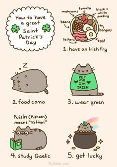 How to have a great St. Patrick's day according to Pusheen.