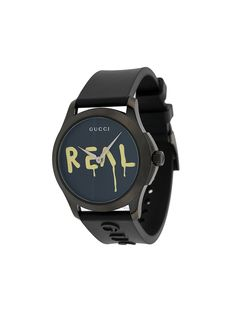 Gucci Ghost G-timeless Watch W/ Rubber Strap In Black Gucci Watches For Men, Watch Companies, Gucci Accessories, Black Rubber, Fashion Brands, Women Wear, Black Leather, Inspiration, Black