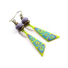 Purple and Green Dagger Boho Chic Earrings Brass Earrings