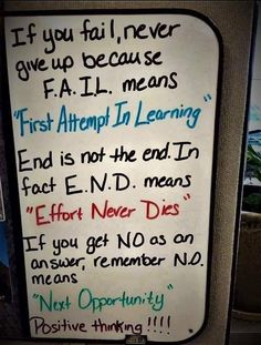 Failure is non existent as long as you never give up. The more you fail the more you learn. The more you learn the more you grow. Image Positive, Positive Thoughts, Positive Mindset, Positive Attitude, Deep Thoughts, Positive Outlook, Positive Vibes, Never Give Up Meaning, Authors Perspective