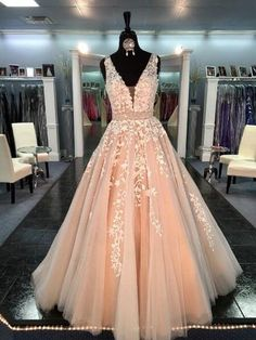 Tulle Lace A line Prom Dresses, Sexy Deep V Neckline Party Prom Dress, Custom Prom Dresses,MB 293