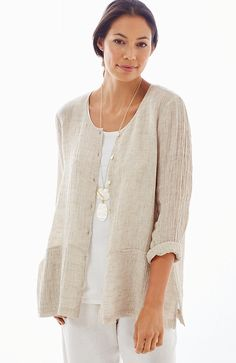 Pure Jill crinkled-linen jacket