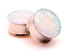 "Embedded Pearl Glitter Plugs gauges - 00g, 7/16"", 1/2, 9/16, 5/8, 3/4, 7/8, 1 inch on Wanelo"