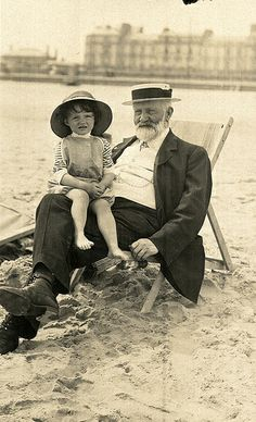 On Yarmouth beach with grandpa