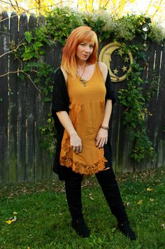 Fashion Fairy Dust style blog:lace slip dress, otk boots, cocoon cardigan, Free People