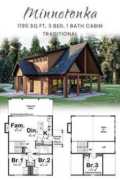 This cottage style cabin plan has 2 bedrooms on the main floor with a 3rd bedroom upstairs. The main floor includes a family room with a fireplace and an open kitchen complete with an island and breakfast bar. The Minnetonka is a great space for a family to relax. Cabin Plans, House Plans, Porch Bench, Cottage Style, Family Room, Sweet Home, Relax, Loft, Farmhouse