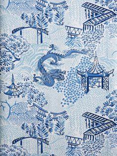 Asian Wallpaper, Vern Yip, Wallpaper Warehouse, Textiles, Art Nouveau Design, Blue Wallpapers, Blue Aesthetic, Fabric Decor, Pattern Wallpaper