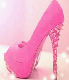 Pink high heels with bling stilleto heel