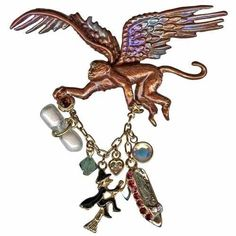 NEW KIRKS FOLLY FLYING MONKEY WIZARD OF OZ PIN BROWN