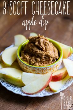 Super quick and easy fruit dip that tastes like cheesecake--made with Biscoff cookie spread. Great on apples.
