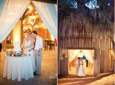 Cotton Dock Wedding, Boone Hall Wedding, cake cutting, rustic wedding, reception lighting    copyright m three studio photography