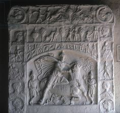 Mithras Sacrificing the Bull, copy of a Roman original (stone). Mithrasaltar mit der Darstellung der Toetung des Stieres durch Mithras; seasons and signs of the zodiac; cult from the Middle East; Saalburgmuseum, Romerkastell-Saalburg, Hessen, Germany