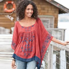 "SUNSET BEACH TUNIC -- The water, the setting sun—perfection. Recapture the mood in a flowing coral tunic embellished with ocean blue embroidery. Cotton. Dry clean. Imported. Sizes XS (2), S (4 to 6), M (8 to 10), L (12 to 14), XL (16). Approx. 27-1/2""L."