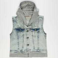 HIGHWAY Fleece Hooded Girls Denim Vest 238628858   Jackets & Vests   Tillys.com