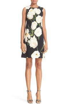 ac84bdd0f8 Dolce Gabbana Tulip Print Wool Shift Dress