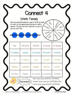 This game is a fun and easy way to help teach or reinforce the concept of verb tenses. The student has to spin the spinner and which ever verb tens...