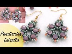 Star Earrings using Pellet and Superduo Beads