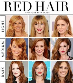 How to Find Your Best Shade of Red Hair - Daily Makeover...if you want to be a red-headed for surprising someone XOXO Andy
