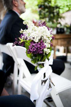 #aisle-decor, #lilacs  Photography: Khaki Bedford Photography - khakibedfordphoto.com/  Read More: http://www.stylemepretty.com/2014/09/15/brooklyn-urban-garden-wedding/